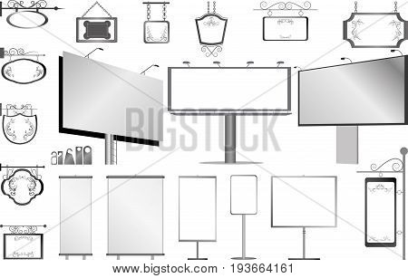 vector set of isolated billboards and advertisement theme things