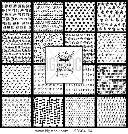 Set of 16 hand drawn simple black and white textures, may use for wallpaper or textile