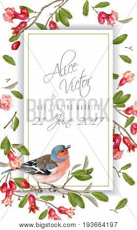 Vector wedding vertical frame with bird on a pomegranate branch isolated on white background. Romantic design for wedding invitation card. Can be used for poster, brochure, scrapbook