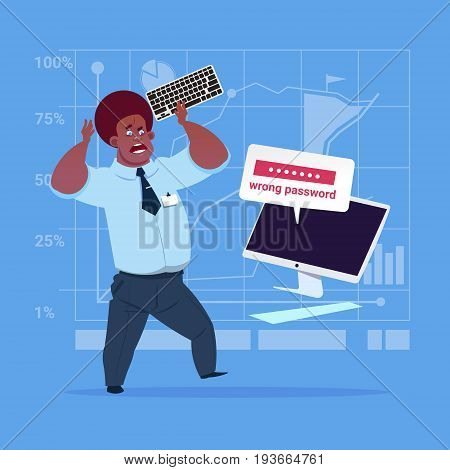 Angry African American Business Man Inputting Wrong Password Using Computer Problem With Access Concept Flat Vector Illustration