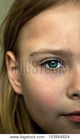 Portrait close up half of face young beautiful girl Expressions of trust and the concept of defenselessness