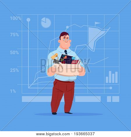 Business Man Hold Box With Office Stuff Search For Job Position Vacancy Unemployment Concept Flat Vector Illustration