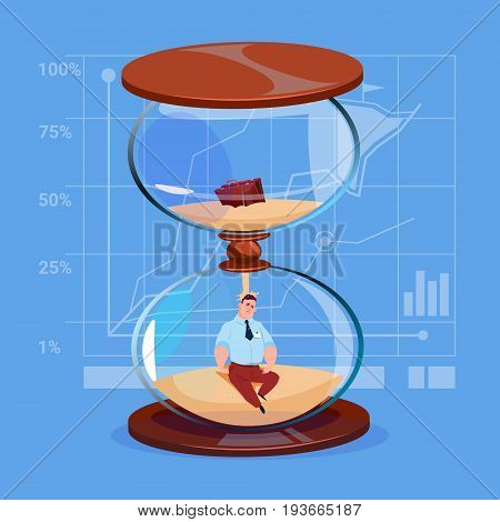 Business Man Inside Sand Watch Clock Deadline Time Management Concept Flat Vector Illustration