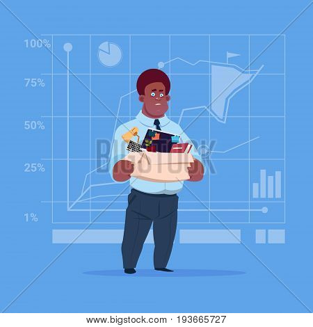 African American Business Man Hold Box With Office Stuff Search For Job Position Vacancy Unemployment Concept Flat Vector Illustration