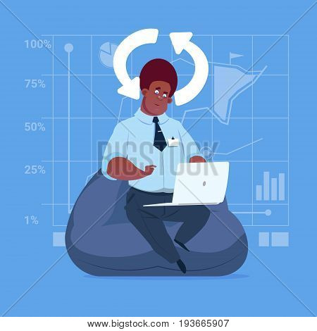 African American Business Man Use Laptop Computer Updating Software Applications Media Social Network Communication Businessman Flat Design Vector Illustration