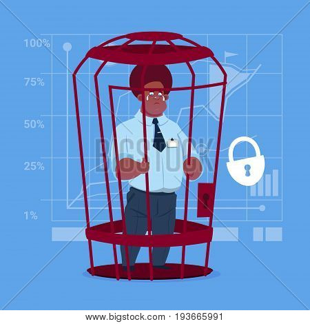 African American Business Man In Cage Prisoner Financial Problem Concept Flat Vector Illustration