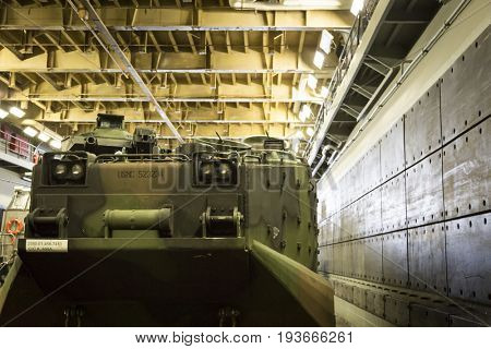 Ship Tour USS Kearsarge (LHD 3) Wasp-class amphibious assault ship: U.S. Marine Corp AAVP7A1 RAM/RS amphibious assault vehicle, well deck. Fleet Week NEW YORK MAY 25 2017.