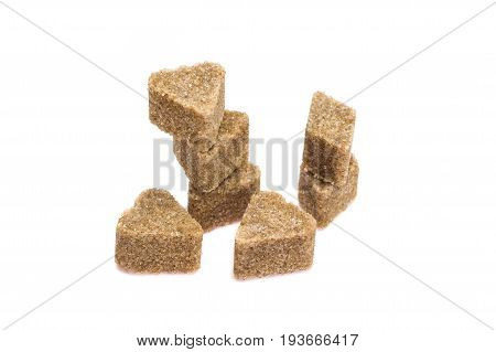 Brown sugar isolated on white with clipping path