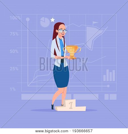 Business Woman Hold Prize Winner Cup, Success Concept Flat Vector Illustration