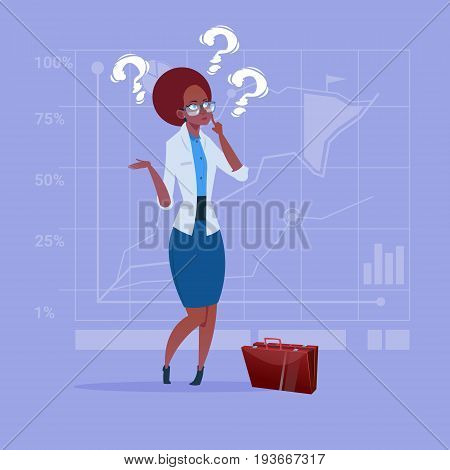 African American Business Woman With Question Mark Pondering Problem Concept Flat Vector Illustration