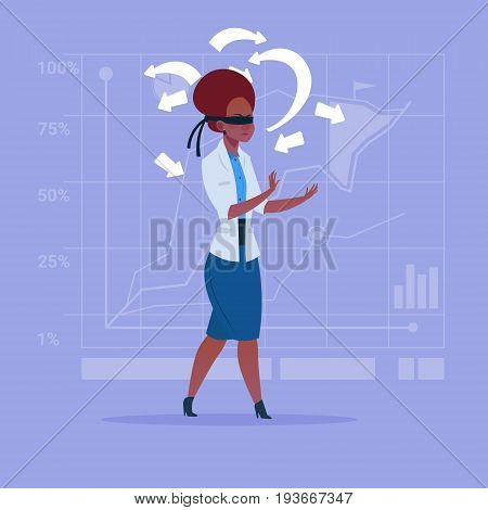 African American Business Woman With Bandage On Eyes Choose Direction Way Arrow Risk Concept Flat Vector Illustration