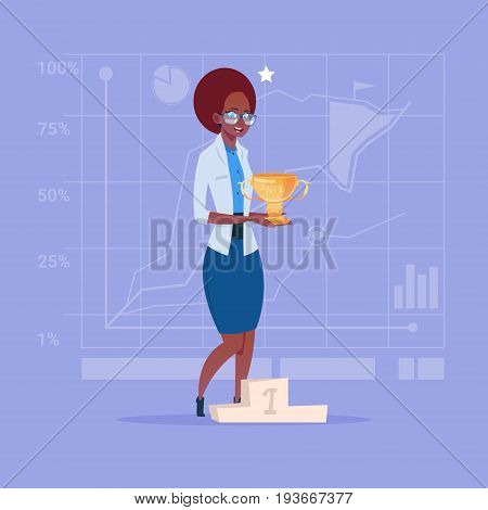 African American Business Woman Hold Prize Winner Cup, Success Concept Flat Vector Illustration