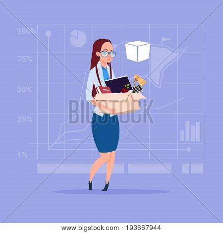 Business Woman Hold Box With Office Stuff Search For Job Position Vacancy Unemployment Concept Flat Vector Illustration