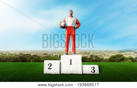 Karting racer on winner podium go kart competition