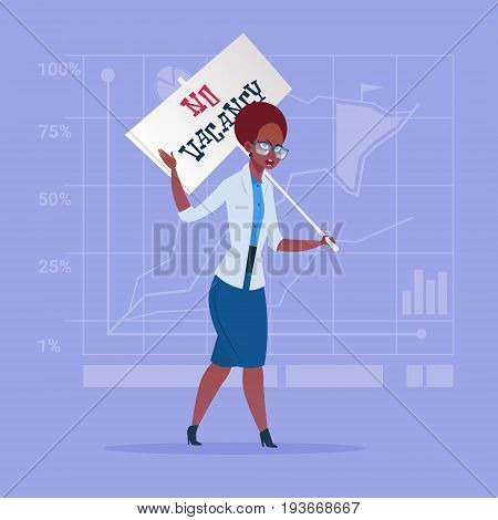 African American Business Woman Hold No Vacancy Poster Unemployment Concept Flat Vector Illustration