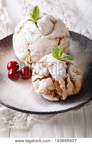 Festive Shortbread Cookie Snowball With Mint And Cherry On A Plate. Vertical