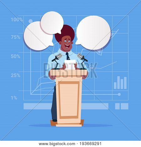 African American Businessman Speaker Candidate Public Speech Conference Meeting Business Seminar Flat Vector Illustration