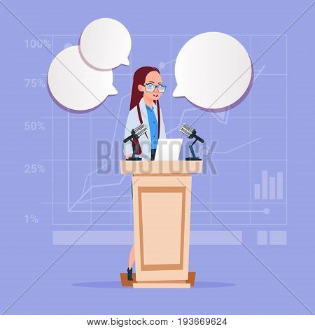 Business Woman Speaker Candidate Public Speech Conference Meeting Business Seminar Flat Vector Illustration