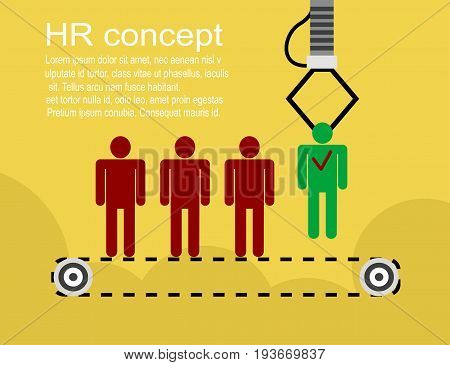 HR infographics background with recruitment process, human resource, job seaching. Vector illustration
