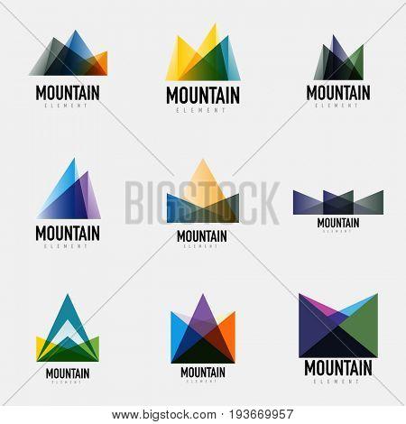 Set of mountain logo geometric designs, simple modern logotypes