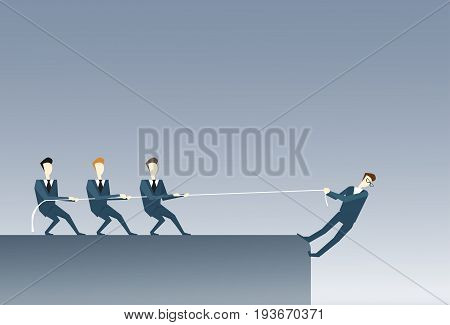 Business People Holding Businessman Hanging Cliff Partner Support Businesspeople Risk Teamwork Concept Vector Illustration