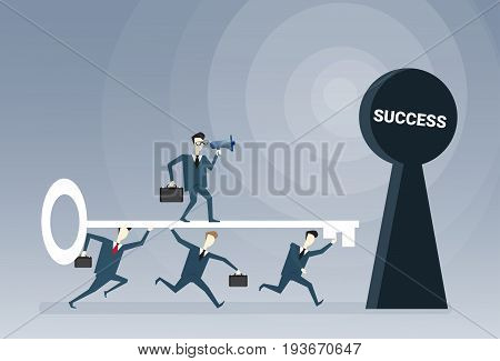 Business People Team Putting Key In Hole Success Opportunity Concept Vector Illustration
