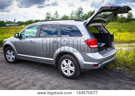 POLAND - JUNE 25, 2017:  Fiat Freemont SUV on the offroad in Poland. Fiat Freemont is an european version of Dodge Jurney manufactured sience 2011.