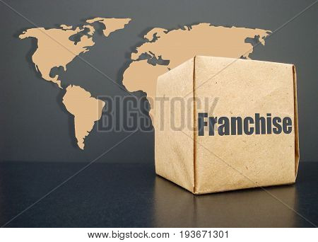 A franchise for the whole world. A symbol of giving a franchise.