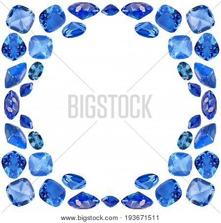 frame from blue sapphire gems isolated on white background