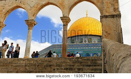 Jerusalem, Israel - May 21, 2017: Dome of the Rock in Jerusalem over the Temple Mount. Golden Dome is the most known mosque and landmark in Jerusalem and sacred place for all muslims.