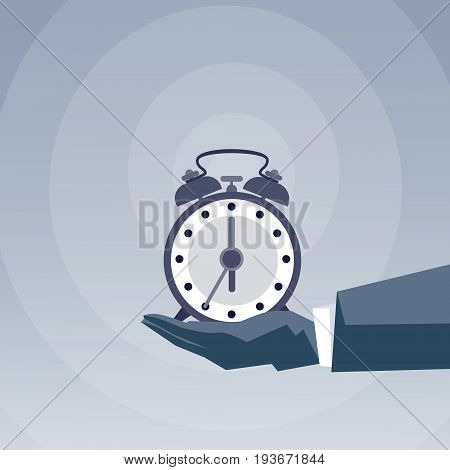 Business Man Hand Hold With Alarm Clock Deadline Time Management Concept Flat Vector Illustration