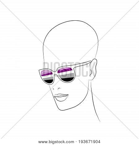 Stylized face with glasses using original colors for asexual. Unconventional sexual orientation for LGBT gay and lesbian parade. Vector t-shirt print design