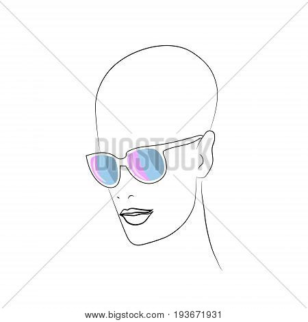 Stylized face with glasses using original colors for intersexl. Unconventional sexual orientation for LGBT gay and lesbian parade. Vector t-shirt print design