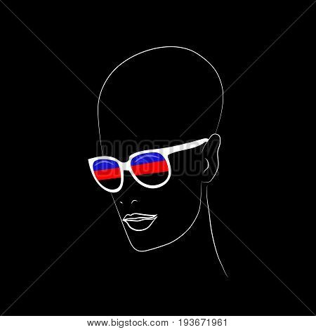 Stylized face with glasses using original colors for polyamory. Unconventional sexual orientation for LGBT gay and lesbian parade. Vector t-shirt print design