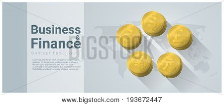 Business and Finance concept background with major currencies on world map , vector , illustration