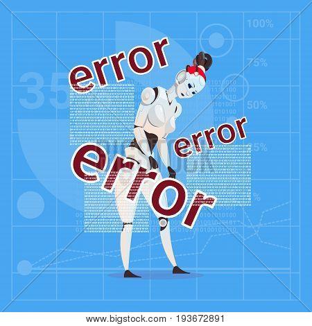 Modern Robot Female Error Failure Futuristic Artificial Intelligence Technology Concept Flat Vector Illustration