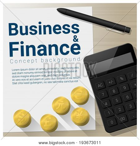 Business and Finance concept background with currencies of different countries , vector , illustration