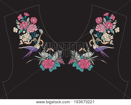Embroidery for neckline, collar for T-shirt, blouse, shirt. Pattern of flowers. Stock vector illustration. On black background.