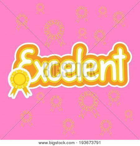 Excelent Sticker Social Media Network Message Badges Design Vector Illustration