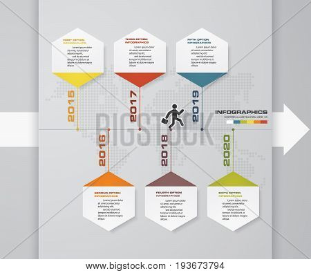 6 steps presentation template. 6 steps timeline presentation template. EPS10.