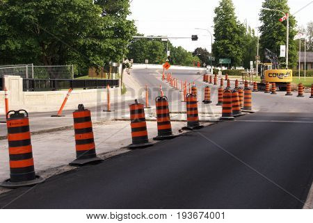 ONTARIO CANADA JUNE 10 2017 EDITORIAL IMAGE OF SOME MAJOR ROAD WORK BEING DONE ON THIS SECTION OF ASPHALT AND BRIDGE AREA.
