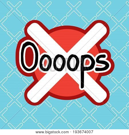 Oooops Sticker Social Media Network Message Badges Design Vector Illustration