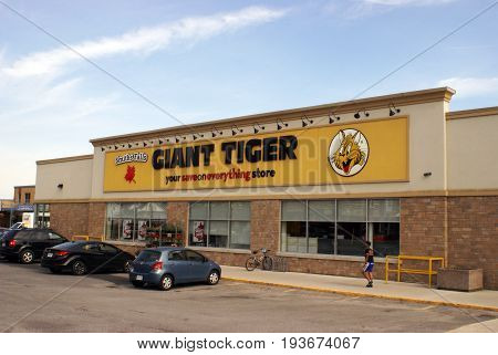 SMITHS FALLS ON JUNE 10 2017 EDITORIAL IMAGE OF CANADIAN RETAIL STOREFRONT NAMED GIANT TIGER.