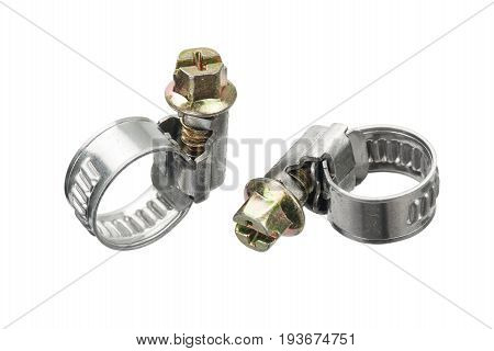 Two new metal hose clamp isolated on white background