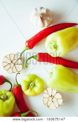 vegetables for flavouring: green peppers and garlic