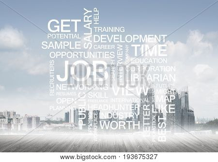 Concept of modern business with keywords collage on cityscape background