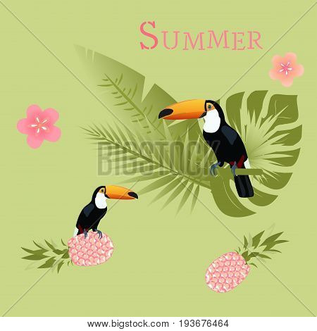 Summertime. Toucan with palms, pineapple and tropical flowers in watermelon colors.