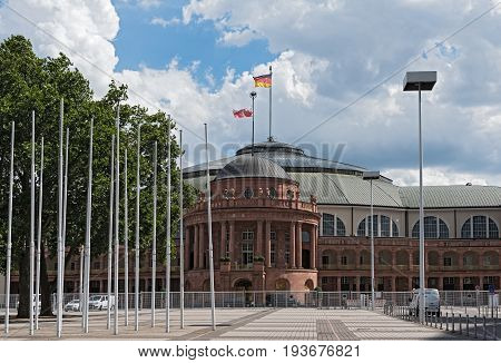 FRANKFURT, GERMANY-JULY 03, 2017: Festhalle Frankfurt,multi-purpose hall at the trade fair grounds of Frankfurt