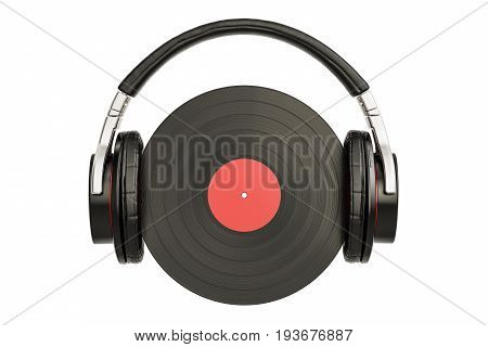Headphones with vinyl record 3D rendering isolated on white background