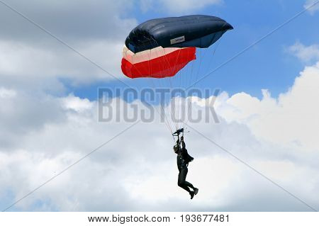 Sandhurst, Surrey, Uk - June 18Th 2017: Parachutist Of The Rlc Silver Stars Parachute Display Team C